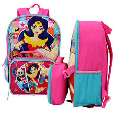 "DC Trio Comic SUPER HERO GIRLS 16"" Backpack + Detachable Insulated Lunch Bag NEW"