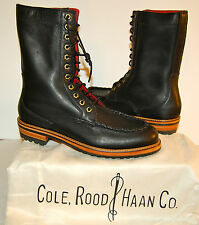 New $448 Cole Rood Haan Co Moose Moc Leather Boot Black Tall 9.5 M Rare