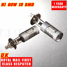 2X 80W H1 White Fog Light Tail Turn DRL Car Brake LED Beam Light Bulb 6000K 12V