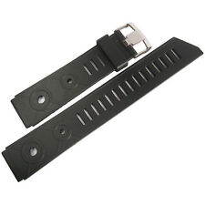 18mm Bonetto Cinturini 281 Mens Black Rubber Made in Italy Dive Watch Band Strap