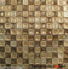 Sample- Brown Green Ceramic Crackle Glass Glazing Mosaic Tile Kitchen Backsplash