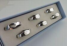 NAPKIN RINGS SET 6 BOXED NEWBRIDGE SILVERWARE SEAHORSE ETCHED MODERN DESIGN
