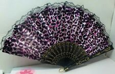 chinese folding hand fan, great for summer outings,  design #4  pink leopard