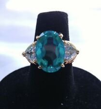 Green Oval & Clear Stone Gold Tone 925 Sterling Silver UTC Statement Ring Sz 5.5