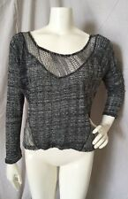 Sparkle & Fade Urban Outfitters Heathered Gray Crochet Knit Cropped Sweater M