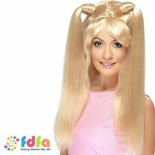 BLONDE BABY POWER WIG WITH PONYTAILS EMMA BUNTON - womens ladies fancy dress