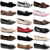 WOMENS LADIES FLAT SLIP ON BALLERINA CASUAL WORK OFFICE LOAFER PUMPS SHOES SIZE