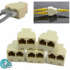 5x RJ45 Ethernet LAN Network Y Splitter 2 Way Adapter 3 Ports Coupler Split 1/2