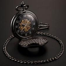 Schwarze Herrenuhr Damenuhr Taschenuhr Handaufzug Mechanische Uhr mit Kette Neu