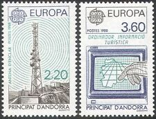 Andorre 1988 europa/communications/ordinateur/radio tour/mât/carte 2v set (n42654)