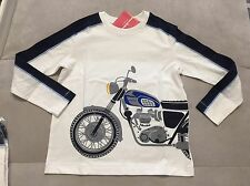 NWT Boys Hanna Andersson 100 3-4T Super Soft Long Sleeve With Bike White Blue