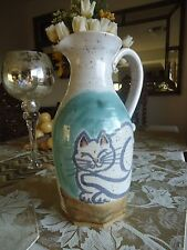 Artisan Cat Water Pitcher Pottery handcrafted signed