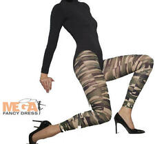 Camouflage Footless Tights Ladies Military Army Uniform Fancy Dress Costume New