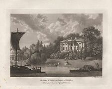 1784 ANTIQUE PRINT SEATS OF THE NOBILITY -WATTS-MIDDLESEX-HAMPTON