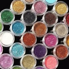 24Pcs/Set Mixed Colors GLITTER Loose Powder Eyeshadow Eye Shadow Cosmetics Salon