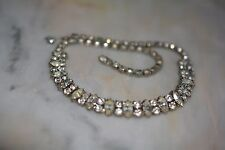 Vintage Art Deco Wedding Novette Rhinestone Choker Necklace