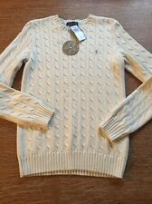 NWT Women's Polo Ralph Lauren  Cableknit Sweater Large Ivory Gold Logo