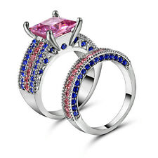 Pink Topaz Wedding Ring Set Pave CZ Band Womens Silver Rhodium Plated Size8 Gift