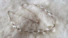 """Vintage Rolled Gold Round Chequered Facet Cut Clear Glass Bead 16"""" Necklace"""