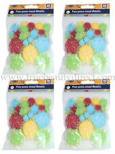 4 x PACKS OF METALLIC POM POMS RED YELLOW BLUE GREEN IN 3 SIZES FOR CRAFTS SHOP