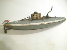 Antique german fer-blanc clockwork wind up submarine u-boat bing, marklin
