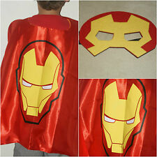 SUPERHERO KIDS CAPE AND MASK IRONMAN OZ STOCK SUPER HERO COSTUME FANCY DRESS UP