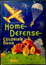 HOME DEFENSE Wartime Graphics~ Vintage 1940's Oversized Children's Coloring Book
