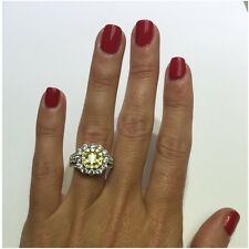 Platinum Sterling Silver Yellow&White Sapphire Cushion Cut Double Halo Ring Gift