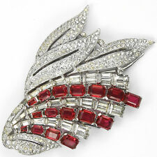 KTF Trifari Philippe Pave and Baguettes Ruby Leaf Spray Deco Dress Clip