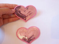 8 large pink heart patch sequin applique motif iron on hotfix sew on UK