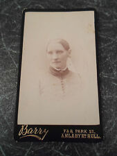 Antique CDV Card Photograph Lady M B Cale ? dated 1890 - Barry Anlaby Rd Hull