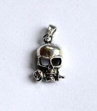 Sterling Silver (925)  Skull  With  Rose In  Mouth Pendant   !!      Brand New !