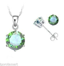 New Lady's Green Crystal Zircon Ear Studs Earrings Silver Necklace Jewelry Set
