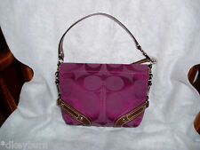 """""""COACH"""" Wine and Brown Leather Straps Canvas Handbag, G0926 - F42780"""