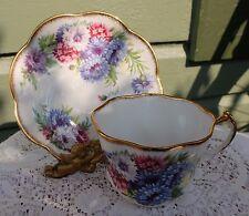 Vintage Fancy Scalloped Edges Romantic Bachelor Buttons Salisbury Cup & Saucer