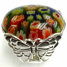 ART NOUVEAU BUTTERFLY MILLEFIORI MURANO GLASS RING 925 STERLING SILVER SIZE - 8