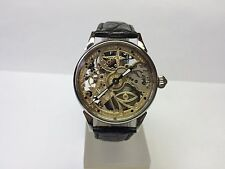 WATCH HAND ENGRAVED  MASONIC BRILLIANT SKELETON . MECHANIKAL. MOVEMENT USSR. 181