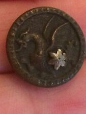 Antique victorian metal picture button mythology dragon cut steel star loop