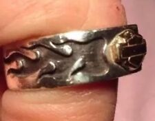 Mens Or Womans Sterling Silver & 10k Gold Harley Davidson Flame Ring SZ 8.25