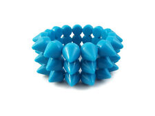 NEON BLUE CYBER SPIKE BRACELET SPIKED STUDDED ROCK GOTH PUNK EMO CANDY RAVE