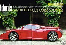 Coupure de presse 2002 (3 pages) Edonis la voiture plus rapide du monde