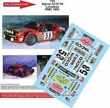 Decals 1/43  réf 724 Renault Alpine 310 V6 Lousteau Monte Carlo 1981