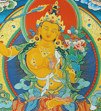 "17"" NATURAL MINERAL COLOR SILKPRINT TIBETAN THANGKA: MANJUSHRI, WISDOM OF BUDDHA"