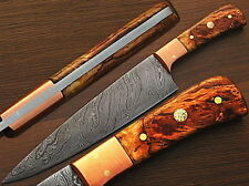 Custom Made Damascus Copper Guard Chef Knife Olive Wood Handle (SDM-2215)