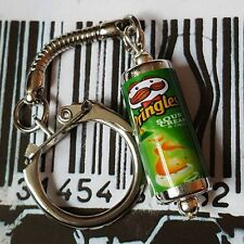 Unique PRINGLES TUBE KEYRING fab SOUR CREAM & ONION keychain MINIATURE food CUTE