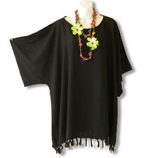 KB11 Black Plus Size Caftan Kaftan Tunic Hippy Maternity Blouse 2X, 3X, 4X & 5X