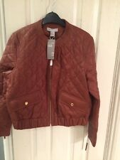 New Ladies  Leather Bomber Jacket H&m Size 16 Paid £149 Tan Colour Fab On