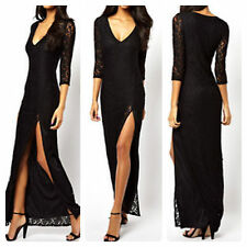 Sexy Black Lace Deep V Neck Lined Long Dress with High Split Black Size L