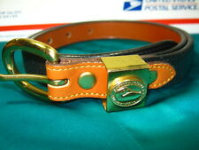 WOMENS LEATHER BELT DOONEY & BOURKE SIZE S SMALL USA SOLID BRASS BLACK EUC
