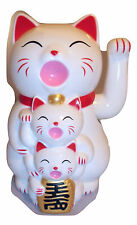 Joblot of 12 White Colour Chinese Lucky cat & Kittens new wholesale 12 cm high